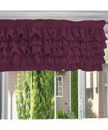 Chiffon EGGPLANT Ruffle Layered Window Valance any size - $29.99+