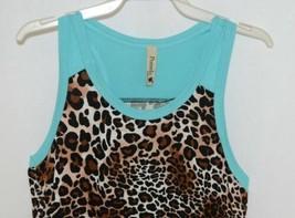 Pomelo Girls Tunic Aqua Brown White Black Leopard Print Size Medium image 2