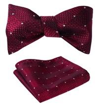 SetSense Men's Check Jacquard Wedding Party Self Bow Tie Pocket Square Set Red - $24.54
