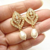 Gold Art Deco Earrings - Swarovski Pearl Rhinestone Bridal Jewelry - $39.00