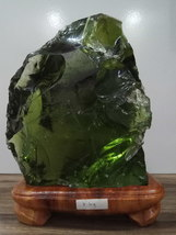 Andara crystal rough emerald green  with wooden base 7 kg - $840.00