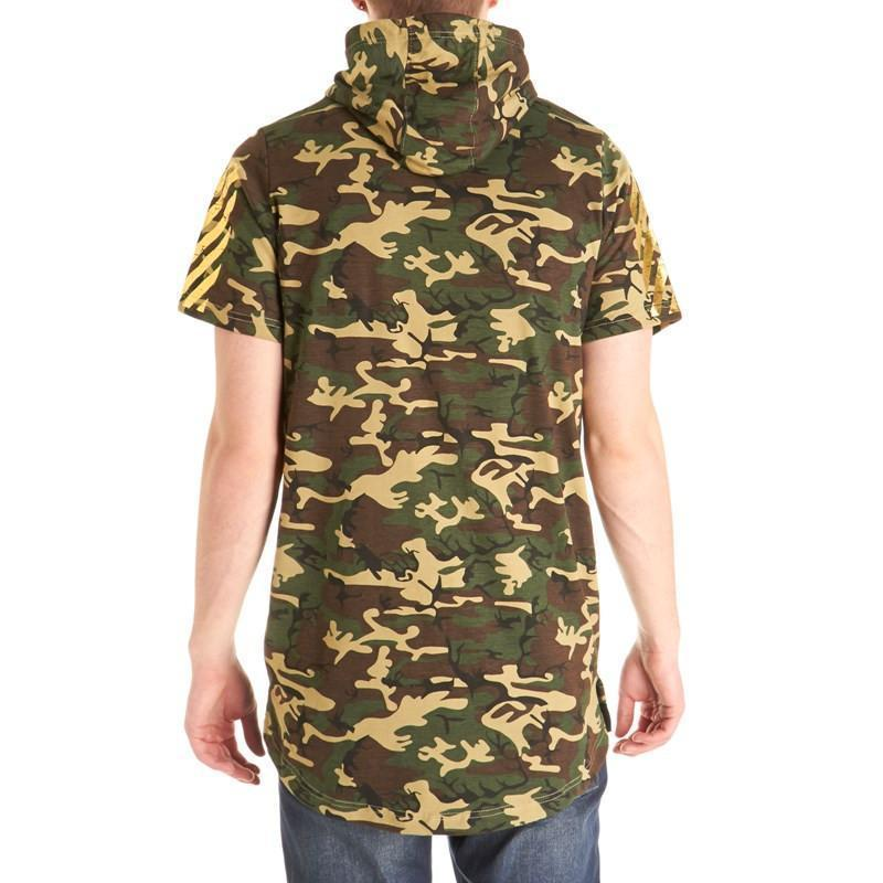 Short sleeve camouflage top with hoodie