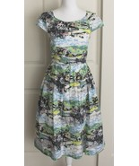 Emily and Fin Claudia Painted City Boats Lined Cotton Dress w/Pockets Sz XS - $49.95