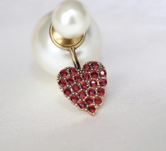 AUITHENTIC Christian Dior 2019 CD CRYSTAL HEART DOUBLE PEARL Single Earring RARE image 4