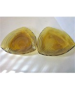 VINTAGE RIBBED AMBER GLASS TRIANGLE SHAPED DISHES - SET OF TWO (2) - $14.99
