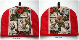 Tea Cozies Rooster and Chickens Tea Cozy Black & White and Red Handmade - $15.32