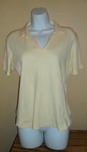 Women's Peach Collar Polo Short Sleeve Shirt WoolRich Medium - $5.16