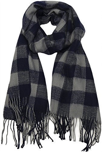 Buffalo Check Plaid Extra Large Warm Soft Wool Feel Scarf, Navy