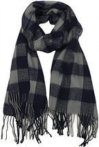 Buffalo Check Plaid Extra Large Warm Soft Wool Feel Scarf, Navy - $9.15