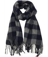 Buffalo Check Plaid Extra Large Warm Soft Wool Feel Scarf, Navy - £6.55 GBP