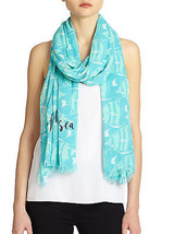NWT kate spade new york Striped fish scarf PSRU2012 Nisbetblue 80x30 - £50.64 GBP