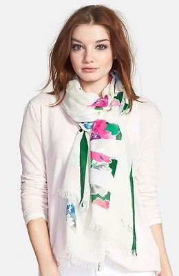 NWT kate spade new york in full bloom scarf PSRU2036 cream multi 80x25 modal