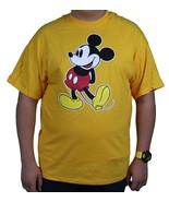 Men's Big Size Yellow T-Shirt NEW Happy Mickey Mouse Disney 2x XXL Plus Size - $19.79