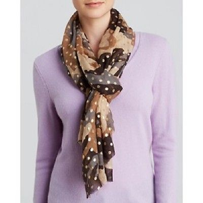 Primary image for NWT Rose & Rose Foil Dot Camouflage Scarf Camel Wool Cashmere Silk Luxury $298