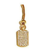 Gold Tone Pave Clear Crystal Rectangular Pendant Necklace -27 Inch Box C... - $7.00