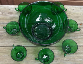 Punch Bowl Forest Green with 7 Cups Anchor Hocking vintage - $65.00