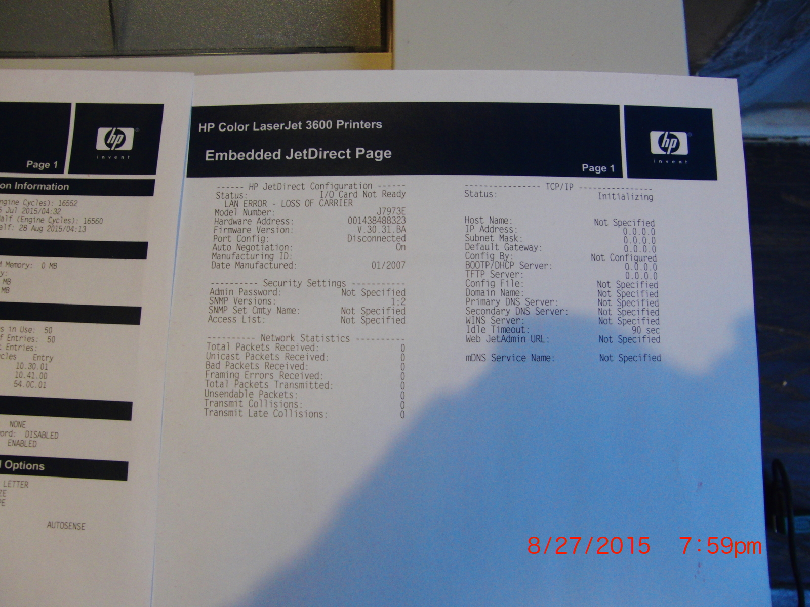 Hp Color Laserjet 3600n workgroup printer and 18 similar items