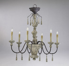 IRON DISTRESSED WOOD Provence FRENCH COUNTRY Farmhouse Chandelier - $454.41