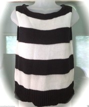 Newport News Navy Blue Striped Sweater Women Size M Sleeveless Vest - $13.85