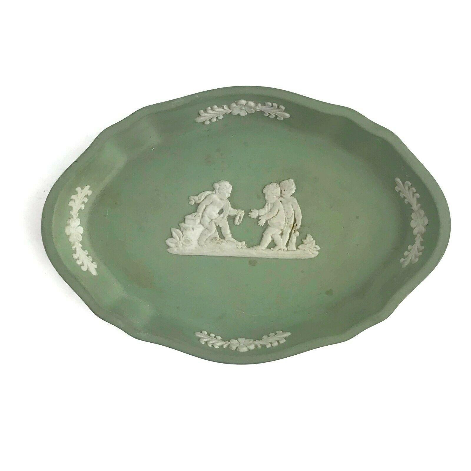 "Vintage Wedgwood England Blue Jasperware Sage Green Pin Tray Neoclassical 4""U7 - $18.55"