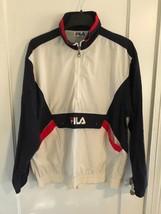 Vintage 90's FILA Windbreaker Jacket L Half Zip SPELLOUT Color Block Str... - $35.27