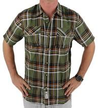 Levi's Men's Classic Plaid Short Sleeve Button Up Shirt Olive 3LDSW062