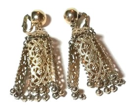 VINTAGE NAPIER SIGNED LARGE CHANDELIER FILIGREE GOLD TONE CLIP ON EARRINGS - $75.00