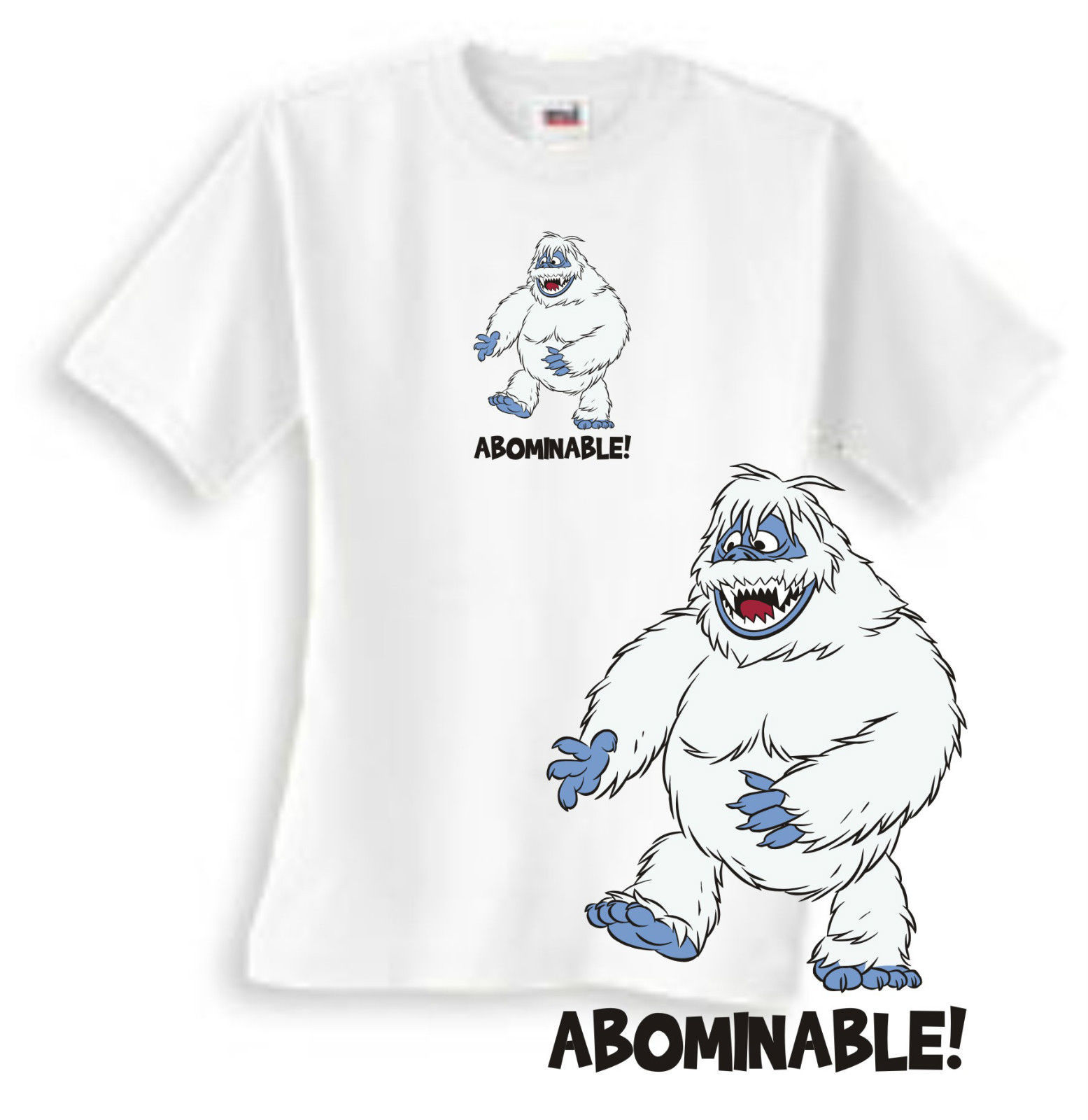 Abominable Snowman T-shirt retro Christmas TV misfit toys 80's cotton white tee