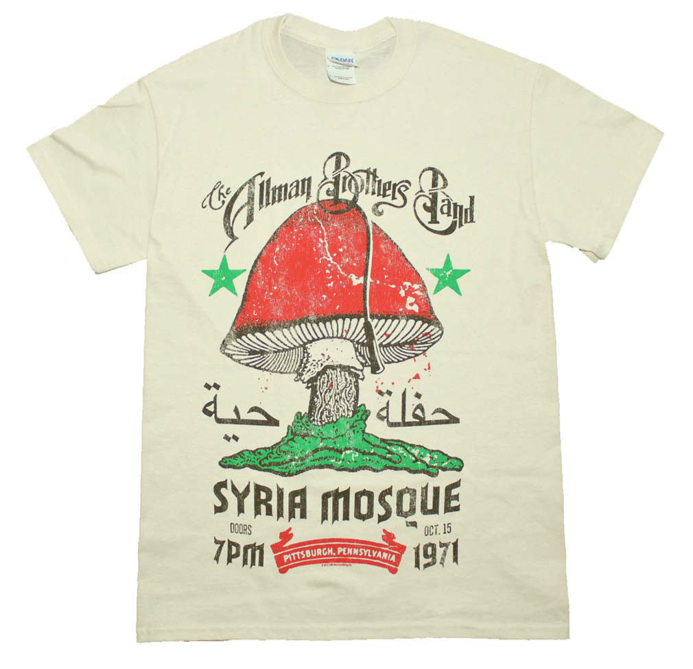 Allman Brothers Syria Mosque T Shirt 70's Classic Rock concert cotton tee Cream