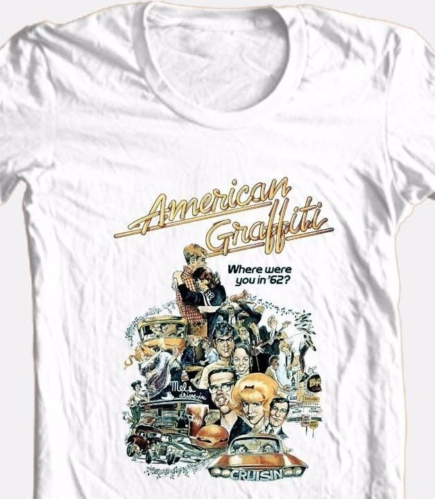 American Graffiti T-shirt retro 70's classic movie 100% cotton graphic white tee