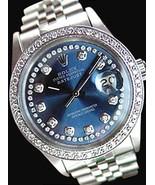 Date just Rolex mens watch blue diamonds dial b... - $4,417.33