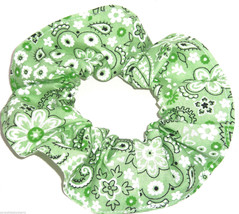 Light Green Bandana Hair Scrunchie Scrunchies by Sherry Cotton Fabric Ponytail - $6.99