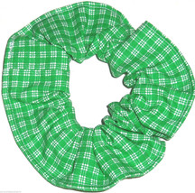 Green and White Plaid Hair Scrunchie Scrunchies by Sherry Ponytail Holder USA - $6.99