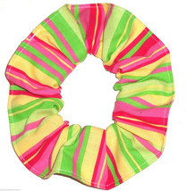 Green Yellow Pink Red Stripe Hair Scrunchie Scrunchies by Sherry Ponytail Tie - $6.99
