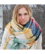 A Huge Designer's Look a Like Scarf CHECKED Col... - $24.99