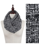 Infinity Scarf Knitted Fall Winter Snood in Bla... - $18.99