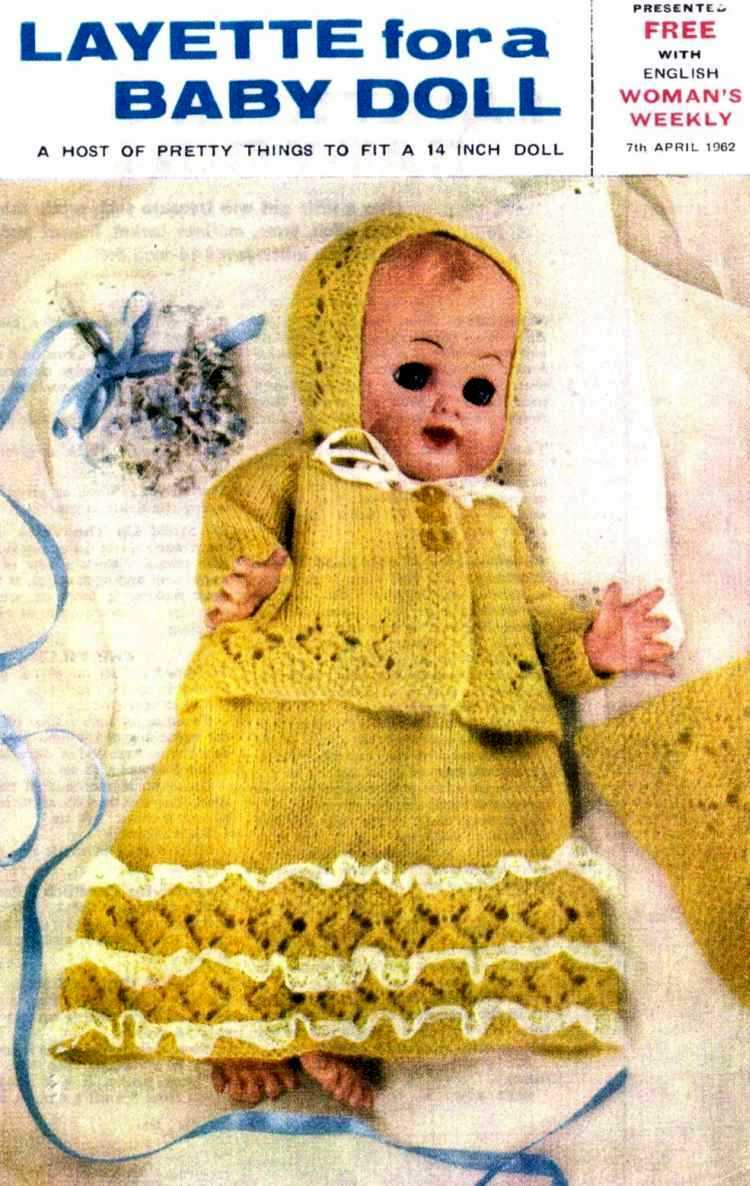 Vintage knitting pattern for Doll layette. Womans weekly 1960. PDF Womans Weekly