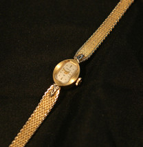 Vintage, triple-signed ladies 18J Swiss Hamilton gold mesh bracelet wristwatch  - $100.00