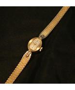 Vintage, triple-signed ladies 18J Swiss Hamilton gold mesh bracelet wristwatch  - $100.00