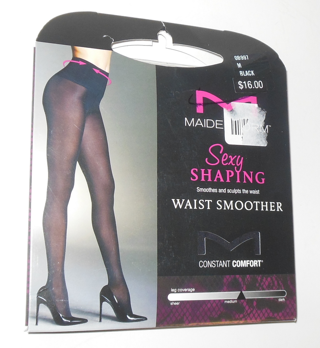41798005257 Maidenform Pantyhose Shaping Waist Smoother 60 Denier M Black Full Matte  Opaque