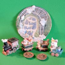 1996 Popular Imports 9-Piece Miniature Resin Tea Set - Pigs On A Train - $3.95