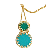 Green Double Disc Pendant Necklace Crystal Accents Gold Tone -32 Inch Ch... - $7.00
