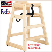 New Restaurant Style Wooden High Chair with safety belt SOLID WOOD $10 R... - $53.51