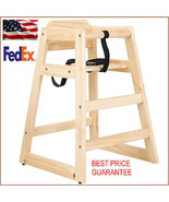 New Restaurant Style Wooden High Chair with safety belt SOLID WOOD $10 R... - $33.51