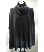 Vintage Lilly of California Black Knit Cowl Neck Poncho - Women's M  - $11.35