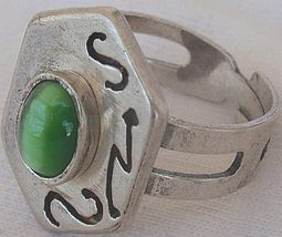 Green cat eye silver ring  - $18.00
