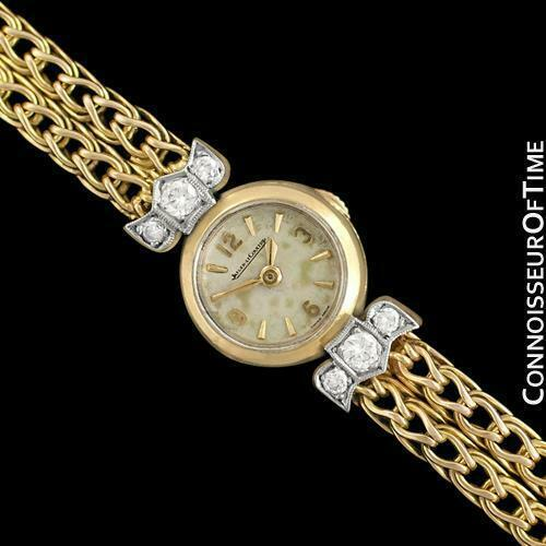 1950's JAEGER-LECOULTRE Vintage Ladies Backwind 18K Gold & Diamond Watch - Warra image 1