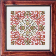 Red Headed Bee cross stitch chart Ink Circles  - $9.00
