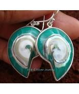 Sterling Silver Blue Nautilus Shell Earrings ER-538-DG - $23.97