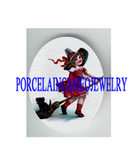VICTORIAN WITCH GIRL RIDE BROOM BLACK CAT * UNSET PORCELAIN  - $12.00
